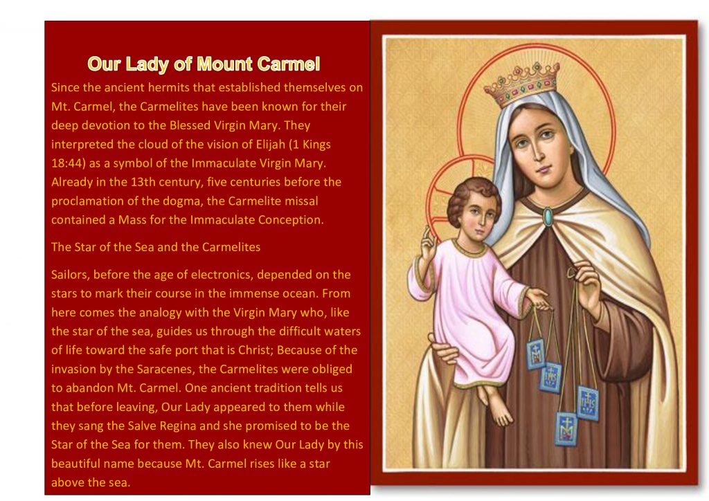 Week 40 Our Lady Of Mount Carmel