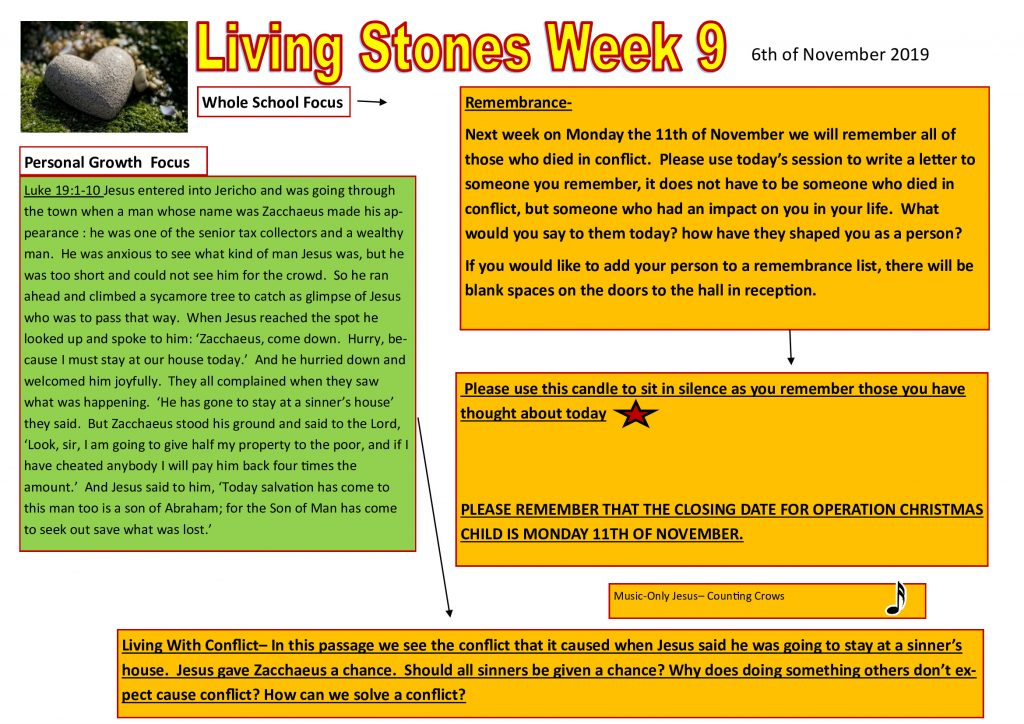 Week 9 Tutor time plan and resources