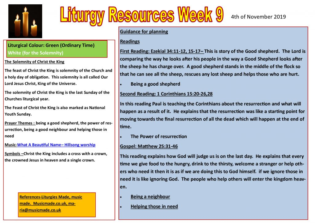 Liturgy Resources Week 9